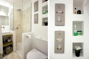 El baño con el lavabo y la ducha, para el almacenaje se han realizado hornacinas aprovechando un hueco de la pared.